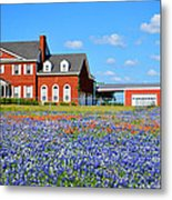 Big Red House On Bluebonnet Hill Metal Print
