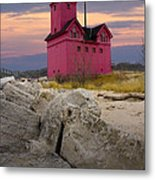 Big Red Lighthouse By Holland Michigan Metal Print