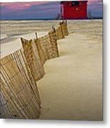Big Red Lighthouse With Sand Fence At Ottawa Beach Metal Print