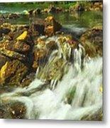 Big River  Waterfall And Dam Metal Print