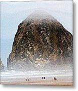 Big Rock On The Oregon Coast With Fog Metal Print