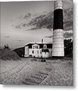 Big Sable Point Lighthouse In Black And White Metal Print