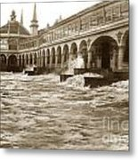 Big Storm Waves At Santa Cruz Beach And Casino And Beach Ca Circa 1925 Metal Print