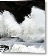 Big Waves Breaking On Breakwater Metal Print