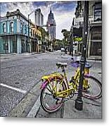 Bike And 3 Georges In Mobile Alabama Metal Print