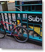 Bike At Subway Entrance Metal Print