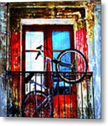 Bike In The Balcony Metal Print