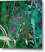 Bike In The Forest Metal Print