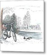 Bike In The Snow Metal Print
