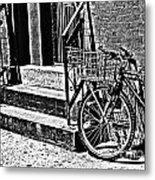 Bike In The Sun Black And White Metal Print