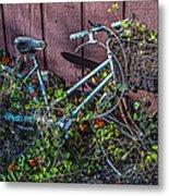 Bike In The Vines Metal Print
