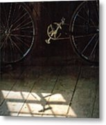 Bike Light And Shadow In Barn Metal Print