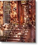 Bike - Ny - Greenwich Village - An Orange Bike  Metal Print by Mike Savad