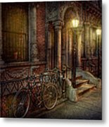 Bike - Ny - Greenwich Village - In The Village  Metal Print by Mike Savad