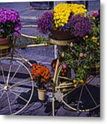 Bike Planter Metal Print