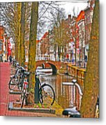 Bikes And Canals Metal Print