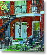 Bikes Balconies Brick Houses Flower Boxes Verdun Duplex Stairs Summer Scenes Carole Spandau Metal Print