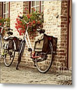 Bikes In The School Yard Metal Print
