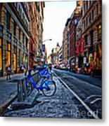 Bikes In The Snow Metal Print