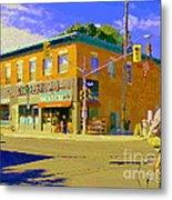 Biking By The Bakery On Bank The Glebe Nicastro Foods And David's Tea Ottawa Streetscene Cspandau    Metal Print