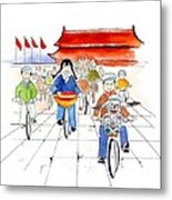 Biking In China Metal Print