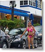 Bikini Bunny In Miami Metal Print