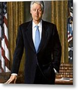 Bill Clinton Portrait Metal Print by Tilen Hrovatic