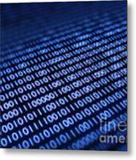 Binary Code On Pixellated Screen Metal Print by Johan Swanepoel