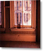 Binoculars On Windowsill Metal Print
