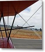 Biplane Taxying Back To Tie Down Metal Print