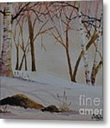 Birch Drift Metal Print