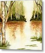 Birch Trees On The Lake Metal Print