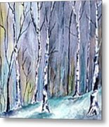 Birches In The Forest Metal Print