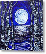 Birches With Shining Water Metal Print