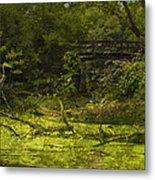 Bird By Bridge In Forest Merged Image Metal Print