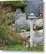 Bird House And Chimes Metal Print