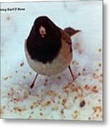 Bird In Snow Metal Print
