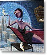 Bird Lady Metal Print by Ned Shuchter