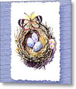 Bird Nest With Daisies Eggs And Butterfly Metal Print