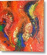 Bird Of Paradise Orange Red Modern Abstract By Chakramoon Metal Print