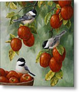 Bird Painting - Apple Harvest Chickadees Metal Print