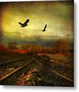 Country Bird Rail Metal Print