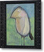 Bird With Found Feather Metal Print