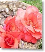 Birdbath Roses Metal Print