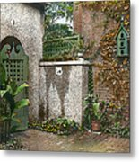 Birdhouse And Gate Metal Print