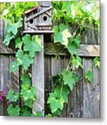 Birdhouse Sitting On A Fence Metal Print