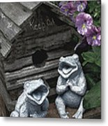 Birdhouse With Frogs Metal Print