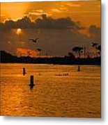 Birds And Bouys Sunrise Metal Print