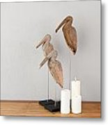 Birds And Candles Metal Print
