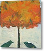 Birds And Maple Metal Print